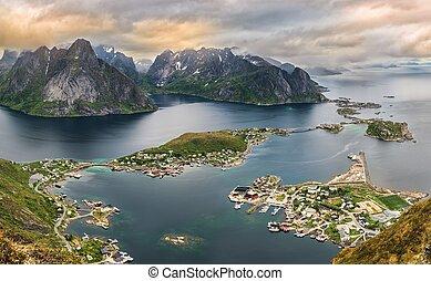 Mountains and Reine in Lofoten islands, Norway