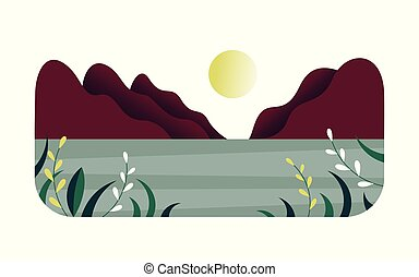 Mountains and river, summer landscape, vector flat illustration, white background
