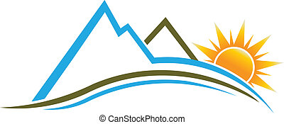 Mountains and Sun logo image. - Mountains and Sun with waves...