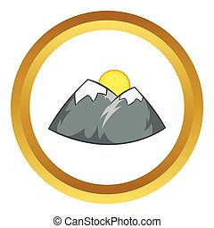 Mountains and sun vector icon