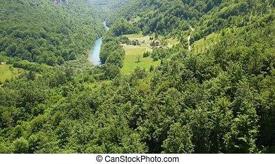 Mountains and Tara river canyon in Durmitor, Montenegro -...