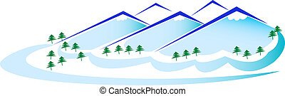 Mountains and Trees - Mountains and trees panoramic logo ...