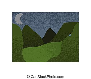 Mountains and valley relaxing view hand drawn