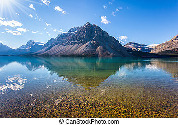Mountains are reflected in the lake