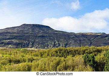 mountains around Haukadalur geyser area in Iceland - travel...