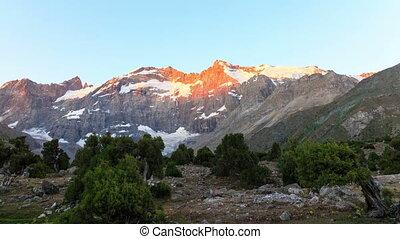 Mountains at dawn. Time Lapse, Pamir, Tajikistan