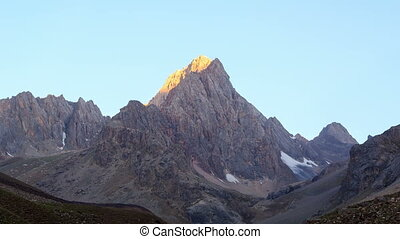 Mountains at dawn. TimeLapse, Pamir, Tajikistan