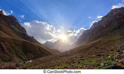 Mountains at sunset. Pamir, Tajikistan