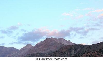 Mountains at sunset. Panorama. Time Lapse. Tajikistan
