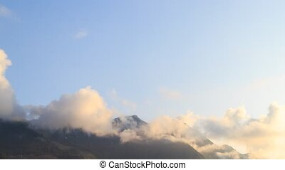 Mountains at sunset. Time Lapse, Sochi, Russia