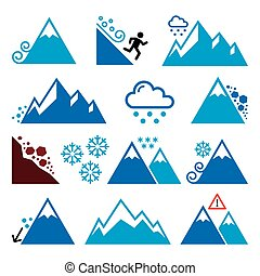Mountains, avalanche, snowslide- natural disaster icons set...