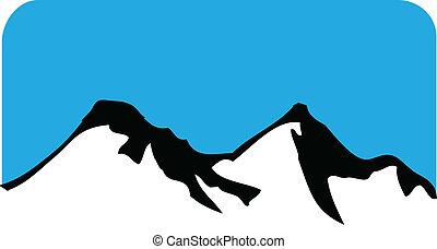 mountains, avbild, kullar, logo