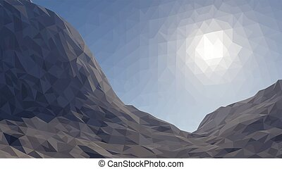 Mountains background with sun in glacier. illustration of  many triangles