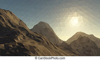 Mountains background with sun in glacier. vector illustration of many triangles