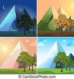 Mountains banners icons set. Vector illustration design