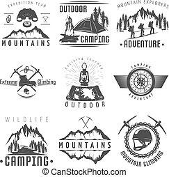 Mountains Black White Labels