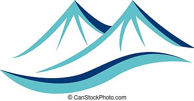 Mountains blue logo - Mountains with sun vector icon