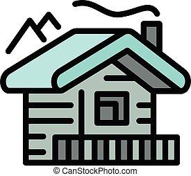 Mountains cabana icon, outline style - Mountains cabana icon...