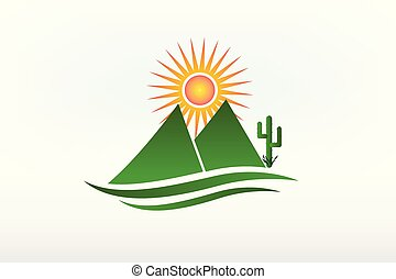 Mountains cactus and sun logo vector icon