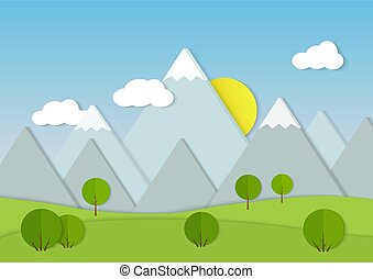 Mountains cardboard paper landscape. Green trees on field Vector illustration.