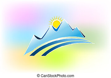 Mountains colorful logo