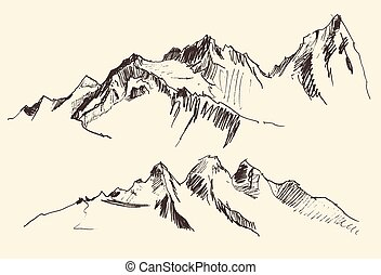 Mountains Contours Engraving Vector Hand Draw - Mountains...
