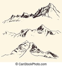 Mountains Contours Engraving Vector Sketch