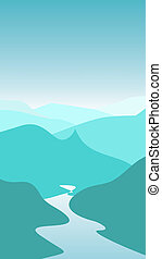 Mountains - Illustration of river in mountain