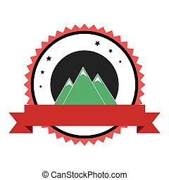 mountains emblem with ribbon icon