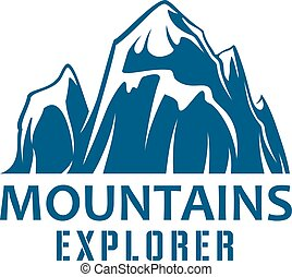 Mountains expedition symbol for sport design
