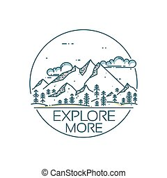 Mountains exploration card. Round composition with text ...