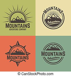Mountains four vector colored vintage emblems