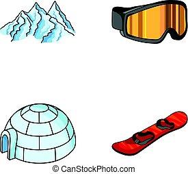 Mountains, goggles, an igloo, a snowboard. Ski resort set...