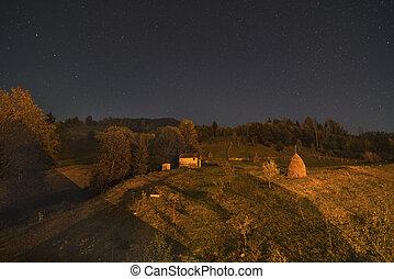 mountains, höstack, landskap, natt