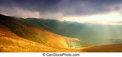 Mountains hills and sunbeams