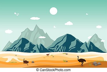 Mountains Hills Desert Steppe Ostrich Landscape Sky