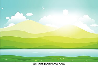 Mountains Hills Lake Green Nature Landscape Sky
