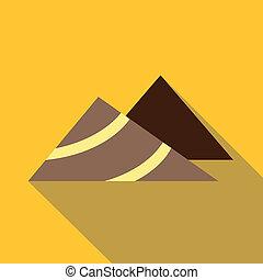 Mountains icon, flat style