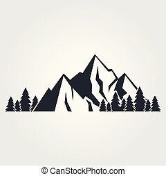 Mountains icon isolated on white background. Vector illustration