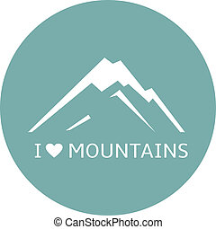 Mountains icon, vector, sign, symbol, abstract, isolated, ...