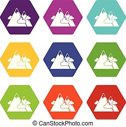 Mountains icons set 9 vector