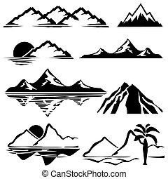 mountains icons - set of vector icons of silhouettes of the...