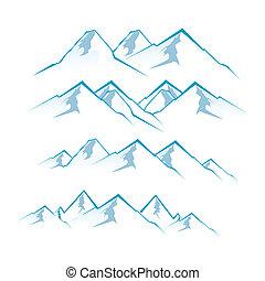 mountains - illustration of mountain view on white...