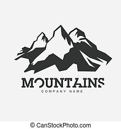 Mountains illustration. Vector abstract logo for adventure theme. Isolated on white background. Mountaineering logotype template.