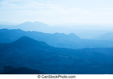 Mountains in a fog