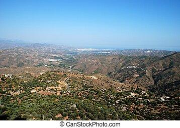 View from mountains looking East towards Velez Malaga and the coast, Montanas de Malaga, Axarquia region, Malaga Province, Andalucia, Spain, Western Europe.