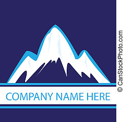mountains, in, blå, marin, logo