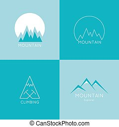 Set of vector icons of mountains. Logo. Hiking, climbing, travel, exploration. Investigation of the Wild
