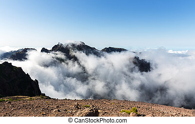 Mountains in clouds landscape