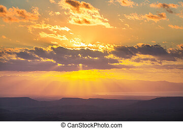 Mountains in Cyprus at sunset
